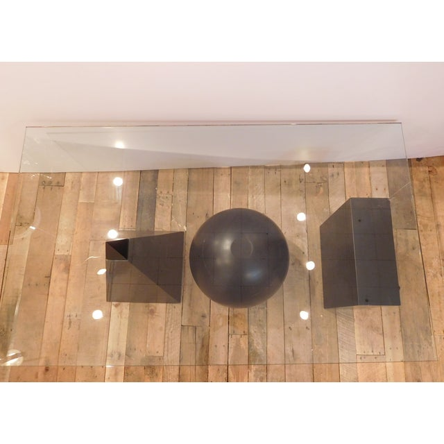 Geometric Glass Coffee Table: Geometric Shapes Abstract Glass Top Coffee Table