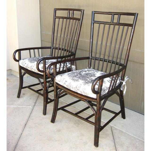Black French Country Style Bamboo Chairs - Pair - Image 3 of 11