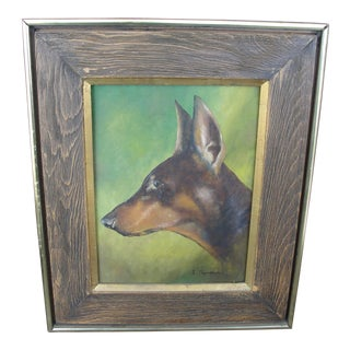 Vintage Doberman Pinscher Oil Portrait Painting