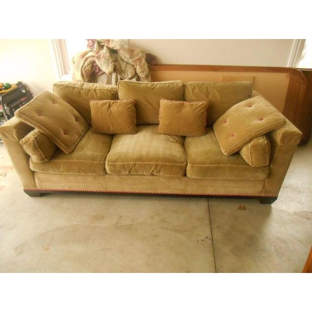 baker furniture camel velvet sofa chairish