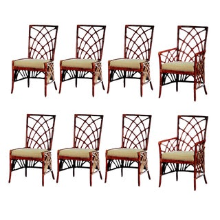 David Francis Solid Rattan Dining Chairs - Set of 6