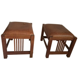 Stickley Mission-Style Leather Ottomans - A Pair