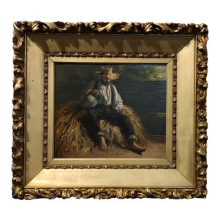 Rest From the Harvest -Original 19th Century Oil Painting -Signed