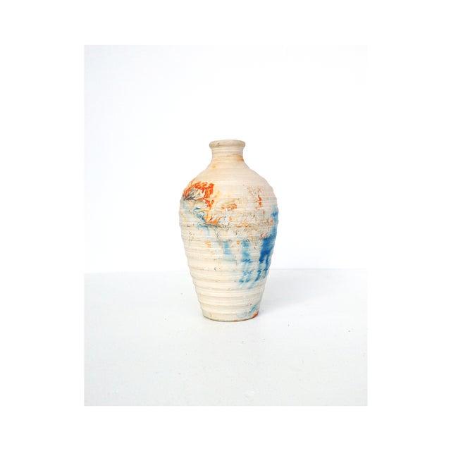 Image of Vintage Nemadji Pottery Blue & Orange Swirl Vase