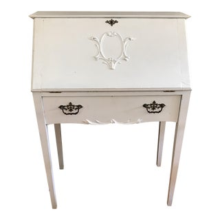 Distressed White Secretary Desk