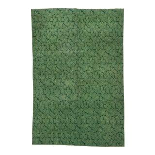 Vintage Turkish Deco Green Rug - 5′10″ × 6′11″