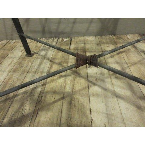 Classical Iron Bench With Crosshatched Seat - Image 4 of 5
