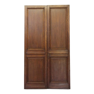 Narrow Wood Double Doors - A Pair