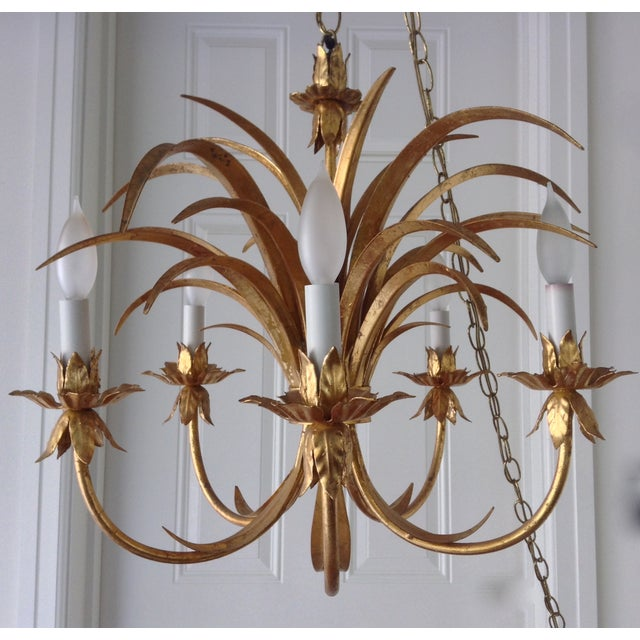 Hollywood Regency Gilt Tole Chandelier - Image 7 of 7