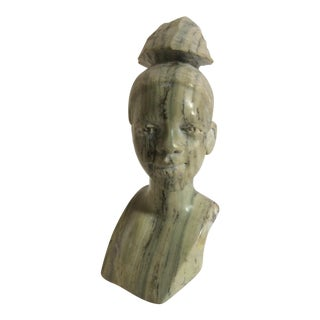African Woman Sculpted in Green Marble