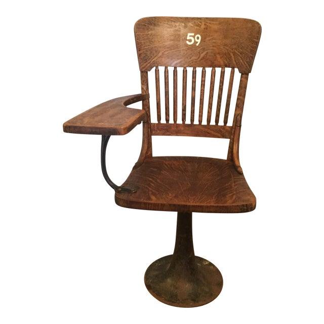 Antique Quarter Sawn Oak University Lecture Hall Chair - Metal Pedestal - Image 1 of 7