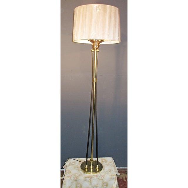 Image of Mid-Century Atomic Era Brass Floor Lamp