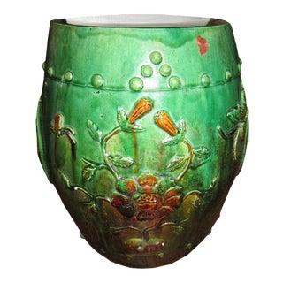 Green Ceramic Drum Stool