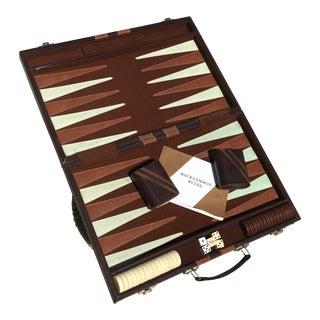 Mid-Century Leather Backgammon Game