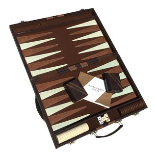 Mid-Century Leather Backgammon Game