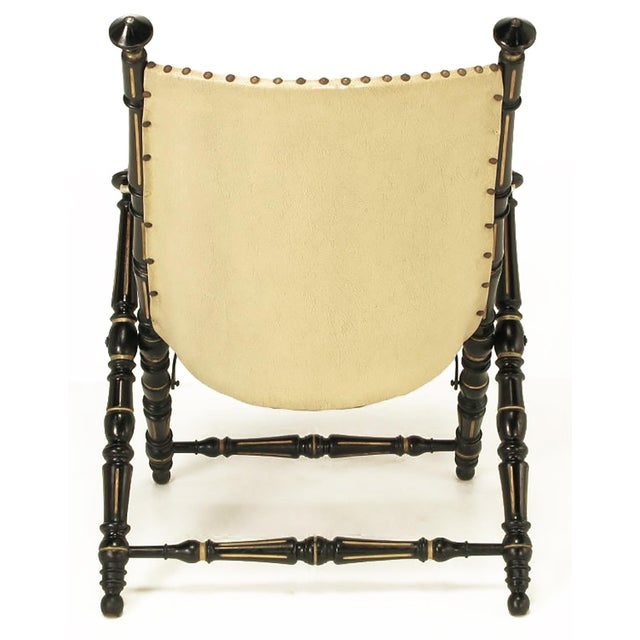 English Style Black Lacquer and Parcel-Gilt Folding Campaign Chair - Image 4 of 9