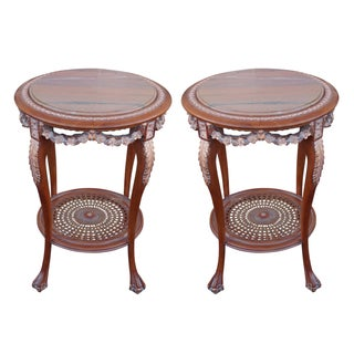 Hand Carved Marble Top End Tables With Cane - Pair