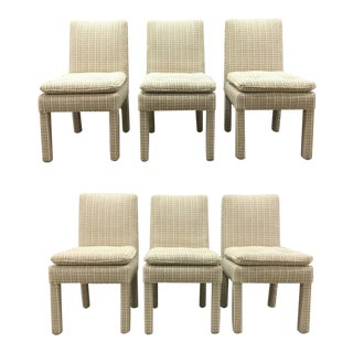 Contemporary Milo Baughman Style Upholstered Parsons Side Chairs - Set of 6