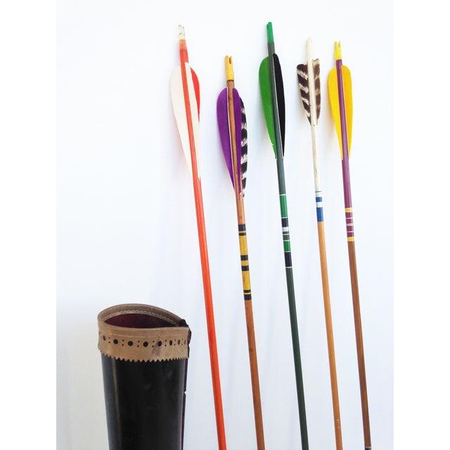 Image of Vintage Wood Arrows & Quiver - Set of 5