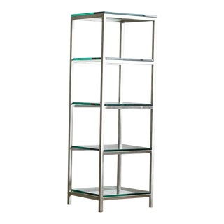 Modern Brushed Aluminium Étagère or Display with Five Thick Glass Shelves
