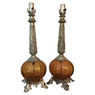 Amber Glass & Brass Table Lamps - A Pair