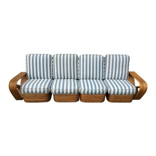 Paul Frankl Style 4 Seater Rattan Sofa