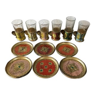 Italian Florentine Shot Glass & Coasters - Set of 12