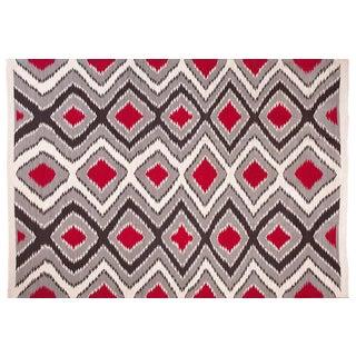 Gray & Black Navajo Style Wool Rug - 6′ × 9′