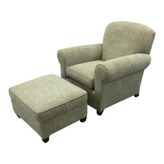Classic English Roll Arm Chair & Ottoman Set