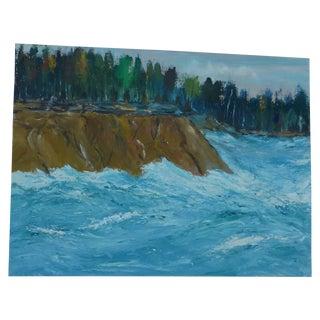 MCM Oil Painting of New England Ocean