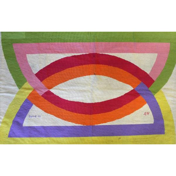 Image of 1971 Abstract Design Needlepoint Rug
