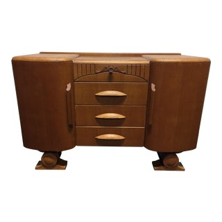 Harris Lebus Vintage Art Deco Tiger Oak Sideboard