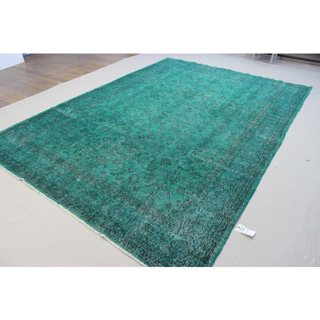 """Vintage Over-Dyed Teal Rug - 7'6"""" x 10'9"""" - Image 3 of 9"""