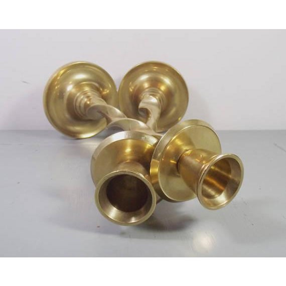 Image of Vintage Brass Twist Candlesticks - A Pair