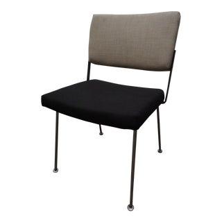 Linen & Black Upholstered Chrome Side Chair