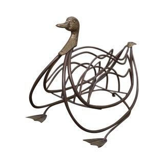 Vintage Italian Brass Mallard Duck Magazine Stand