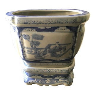 Asian Blue & White Porcelain Cachepot