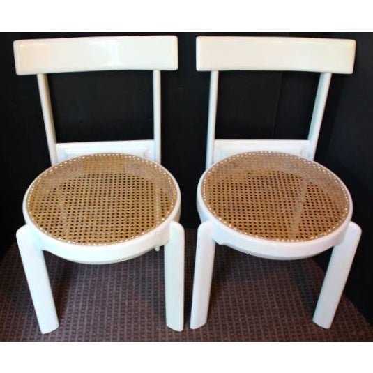 Midcentury Italian White Lacquered Chairs - A Pair - Image 3 of 10