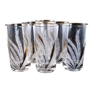 1960s Vintage Culver Style Wheat Cocktail Glasses - Set of 6