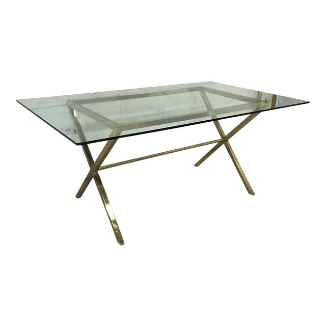 Contemporary Brass & Glass Dining Desk Table - Image 1 of 11