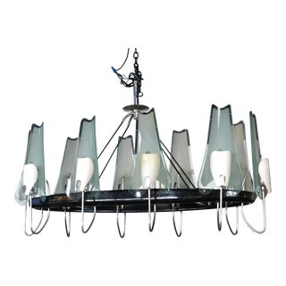 1950s Italian Metal and Glass Oval Chandelier By Stilnovo