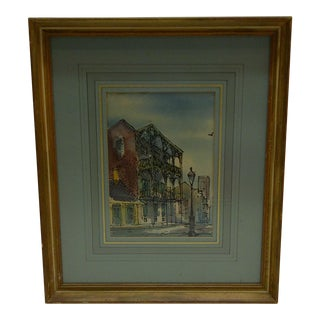 """Circa 1950 J. Donnels """"Saba Apartments - New Orleans"""" Watercolor Painting"""