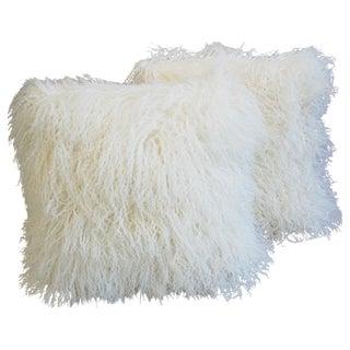 White Tibetan Lambswool & Velvet Pillows - A Pair