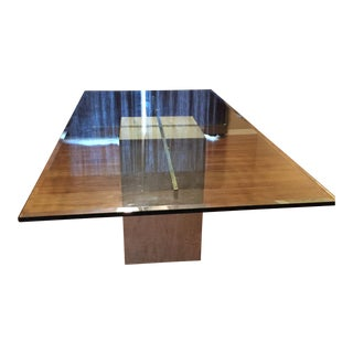 Vintage Glass Top Marble Pedestal Dining Table