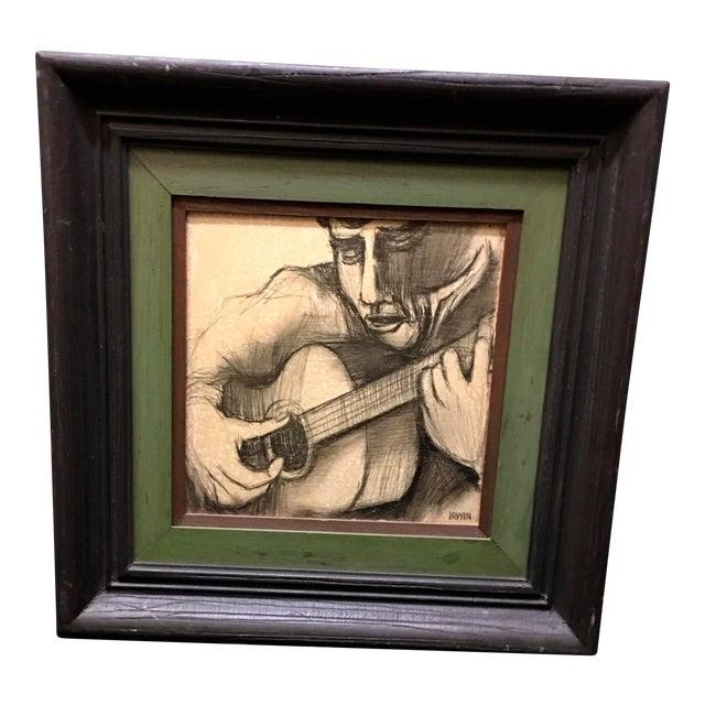 Image of Guitarist Original Pencil Drawing