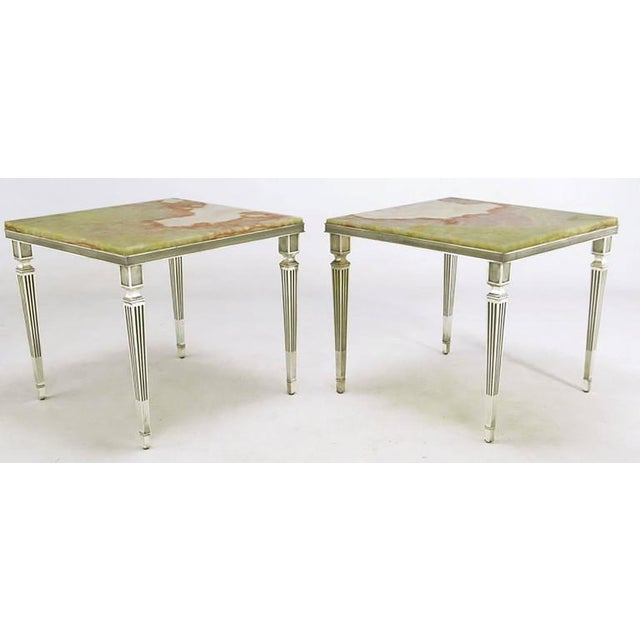 Pair of 1940s Silver Plated Bronze and Onyx End Tables - Image 3 of 7