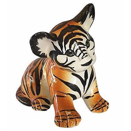 Hand Painted Italian Ceramic Tiger Cub - Image 1 of 6