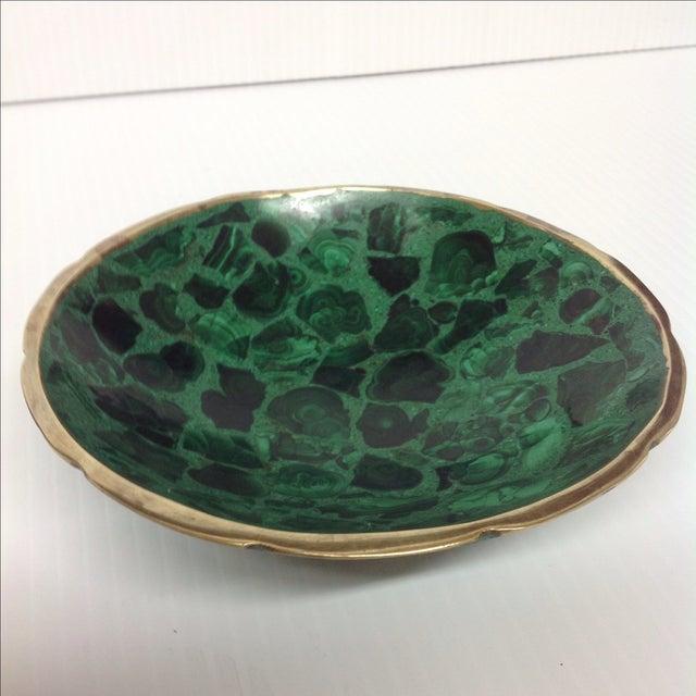 Round Polished Genuine Malachite & Bronze Bowl - Image 3 of 5