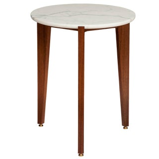 Stillmade Walnut Tripod Side Table with Calcutta Marble Top