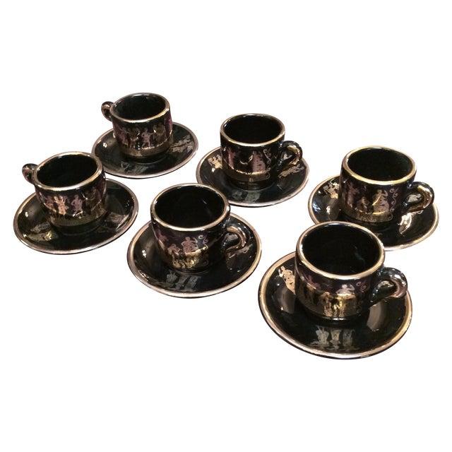 Greek Black & 24k Gold Demitasse Set - S/12 - Image 1 of 5